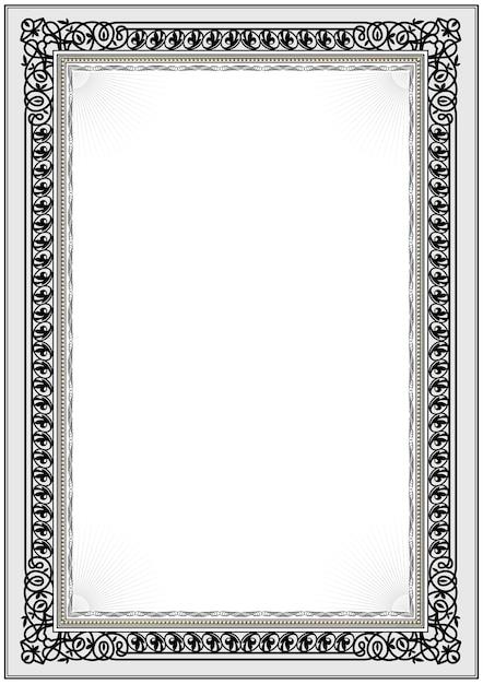 Simple black and white certificate frame border. Vector | Premium ...