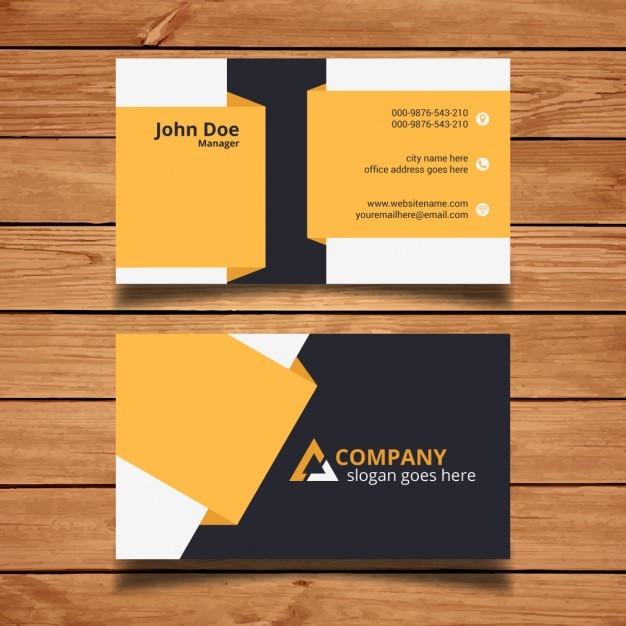 ساده سیاه و سفید و زرد کارت ویزیت