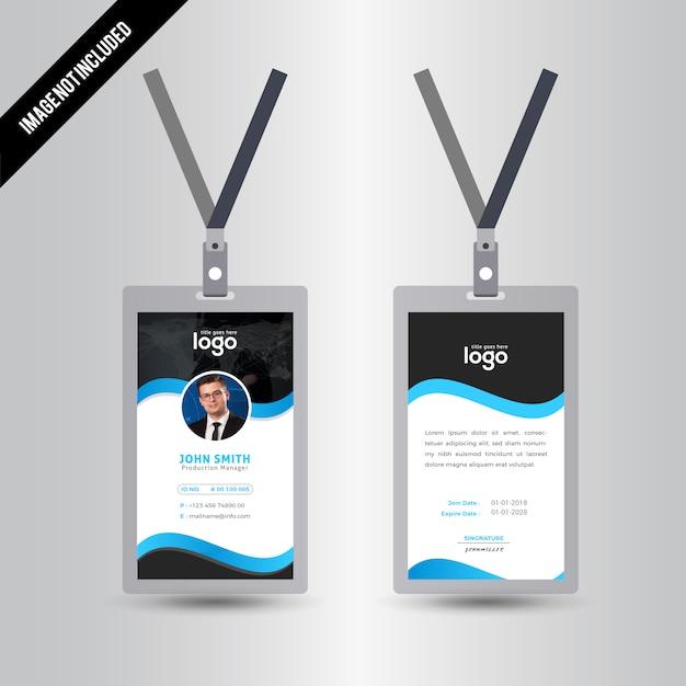 Simple Black & Blue Color Id Card Design Template Vector   Premium ...