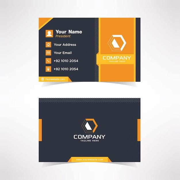 Simple black and orange business card design template Premium Vector