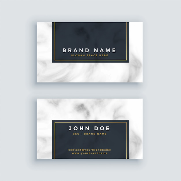 Simple black and white business card with marble texture Free Vector