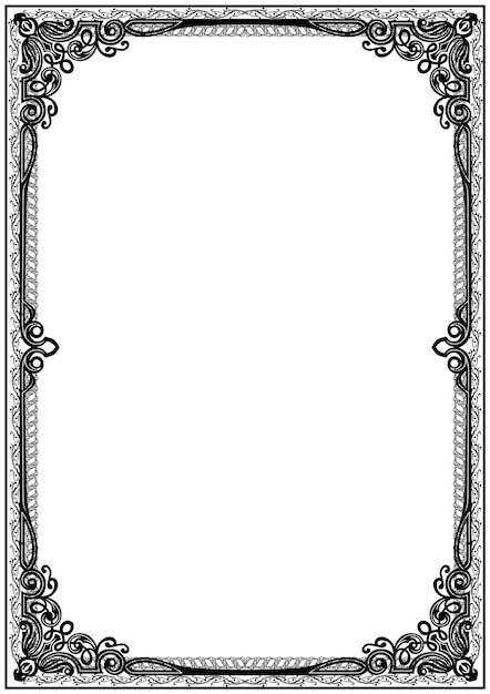 Simple black and white certificate frame border. Vector ...