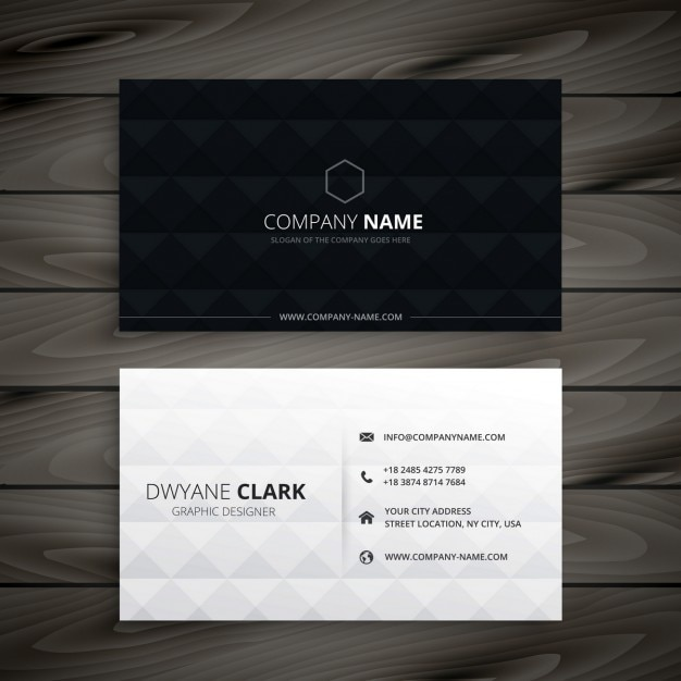 Simple black and white diamond business card Free Vector
