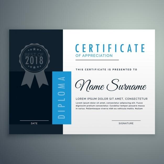 simple blue certificate vector  simple blue certificate vector