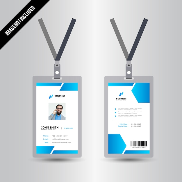 Simple Blue Id Card Template Design Vector  Premium Download