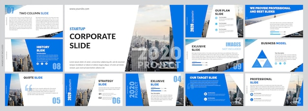 Простой синий шаблон слайдов Premium векторы