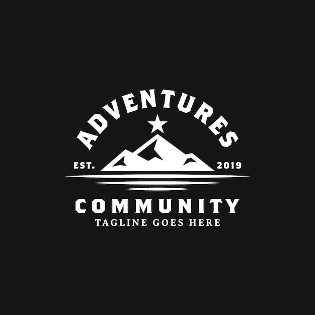 Simple bold black mountain with star logo design Premium Vector