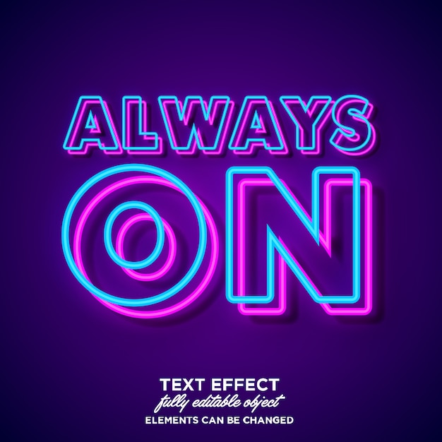 Simple bold neon font effect Vector | Premium Download