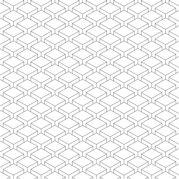 Simple box shaped black and white pattern Premium Vector