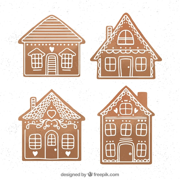 Simple brown gingerbread houses Vector | Free Download