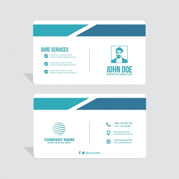 Simple business card, blue tones Free Vector