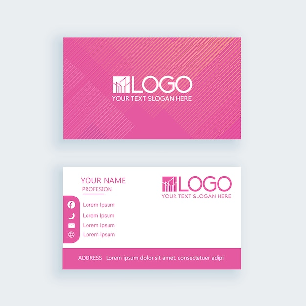 Simple business card pink template or visiting card Premium Vector