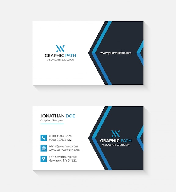 logo carte de visite Simple business card with logo or icon for your business   Premium