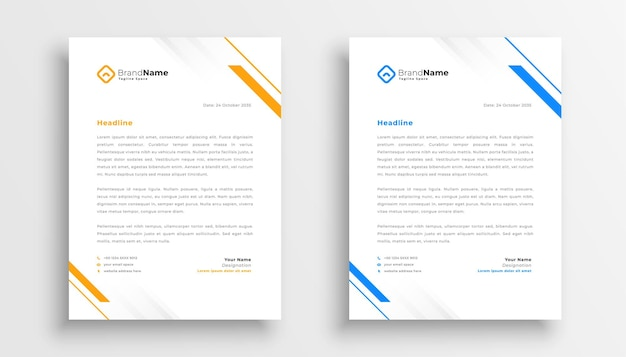 Simple business letterhead design set of two Free Vector