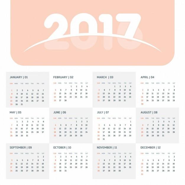 Simple calendar 2017 Vector   Free Download