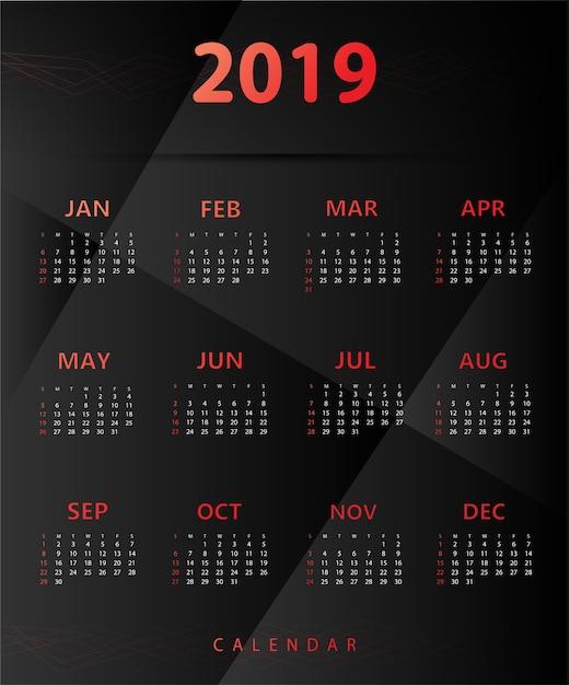 Simple calendar 2019 Premium Vector