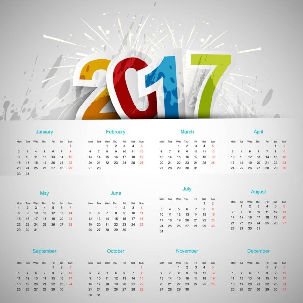 Simple calendar with fireworks Vector   Free Download