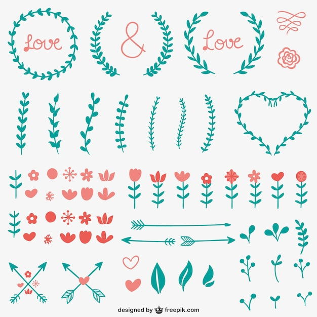 Simple calligraphic ornaments vector free download