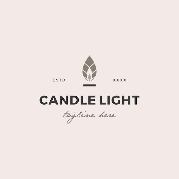 Simple candle light  logo design vector illustration Premium Vector