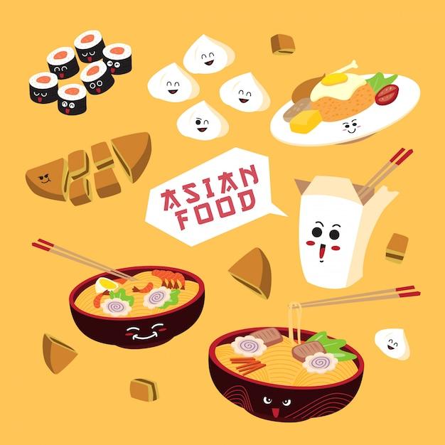 Simple cartoon asian food Premium Vector