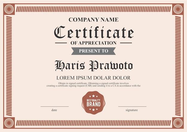 Simple Certificate Template Vector Premium Download