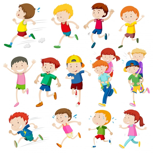 simple characters of kids running illustration free vector