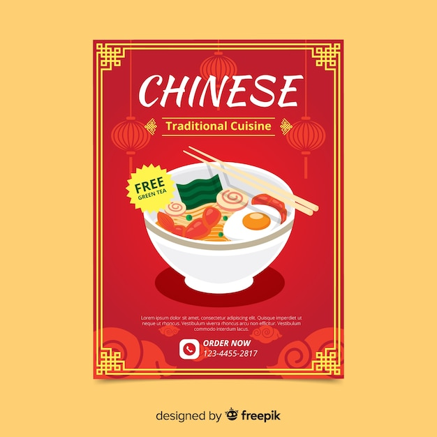 Simple chinese food flyer Free Vector