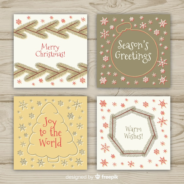 Simple christmas card collection Free Vector