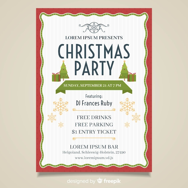 Simple christmas party poster template Free Vector