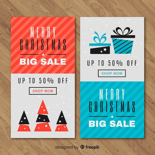 Simple christmas sale banner Free Vector