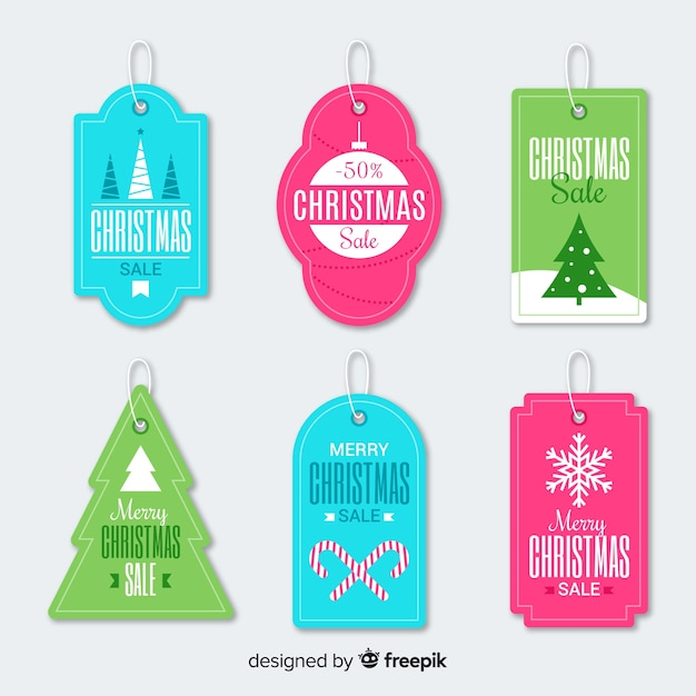 Simple christmas sale label collection Free Vector