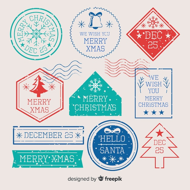 Simple christmas stamp collection Free Vector