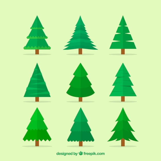 Simple Christmas Tree Collection Vector Free Download