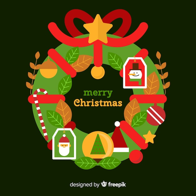 Simple christmas wreath background Free Vector