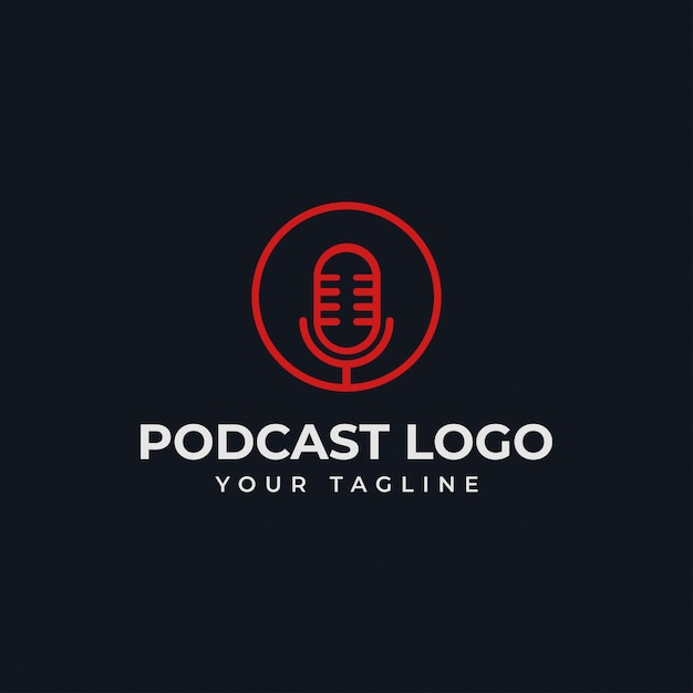 Simple circle microphone podcast radio line logo template Premium Vector