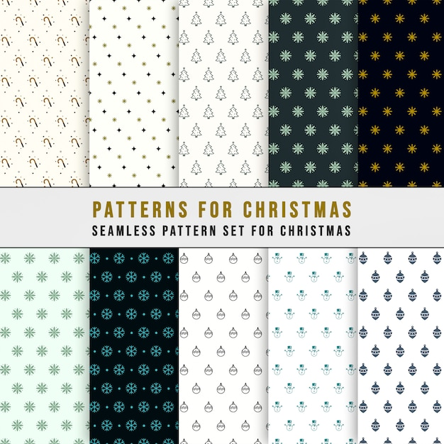 Simple classic xmas seamless pattern set Premium Vector