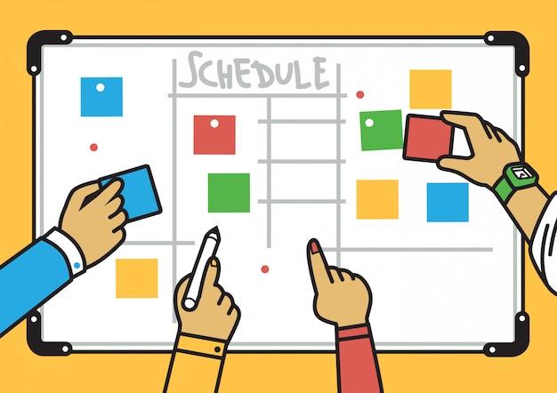 Simple clean planning board illustration Premium Vector