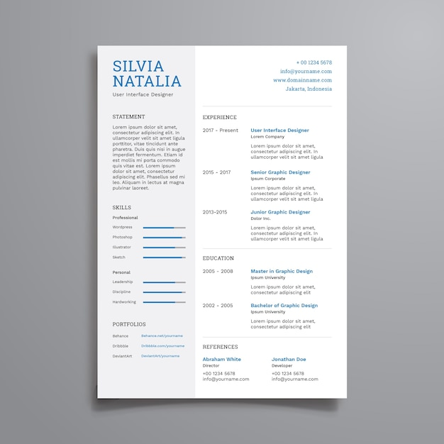 Simple Clean Resume Template Premium Vector