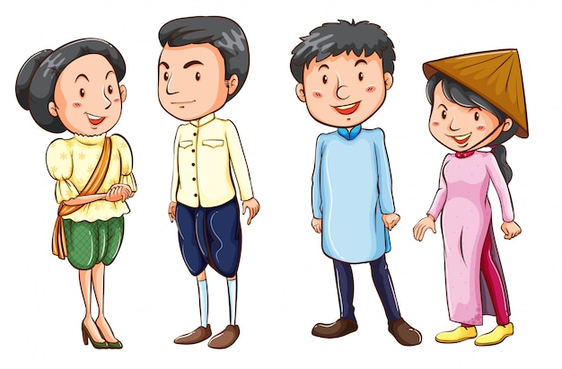 Simple coloured sketches of the asian people Free Vector