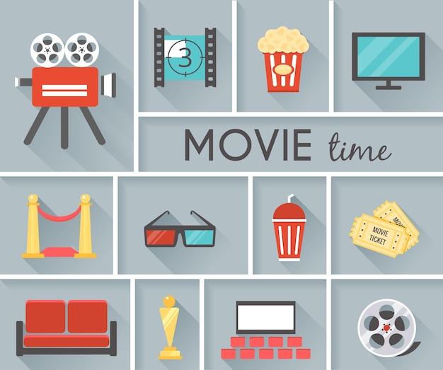 Simple conceptual movie time graphic design with gray background. Free Vector