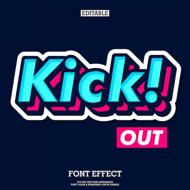 Simple and cool sticker font effect Premium Vector