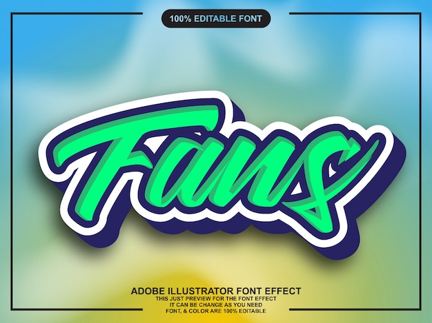 Simple cool sticker with shadow font effect Premium Vector