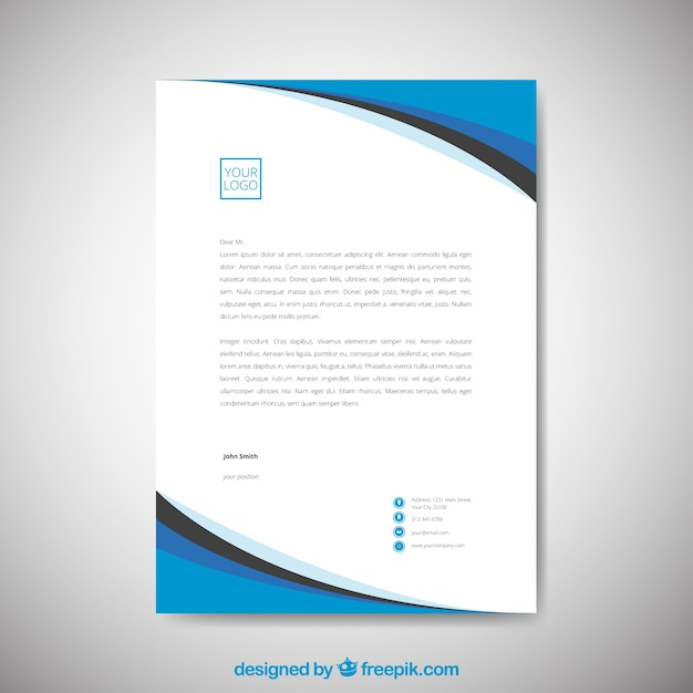 Simple corporate brochure with blue wavy shapes