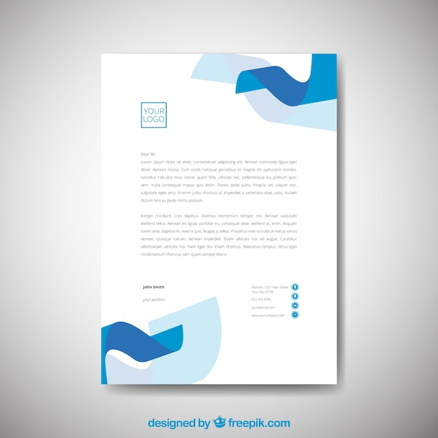 Simple corporate brochure with wavy shapes