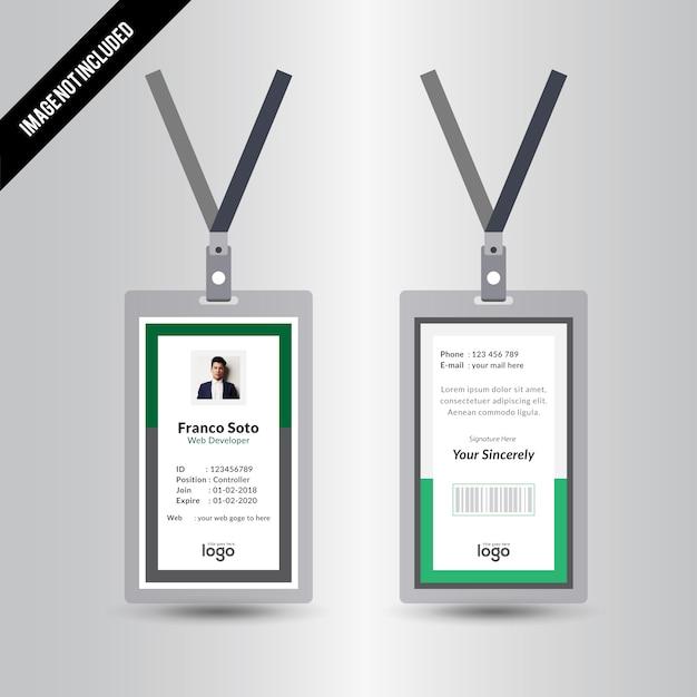 Simple Creative Green Staff Id Card Design Template Vector   Premium ...