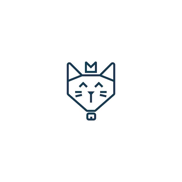 Simple Cute Happy King Cat Face Wears Crown Monoline Logo Emblem