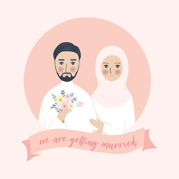 Simple cute wedding muslim couple portrait illustration, walima nikah save the date invitation with pink background Premium Vector