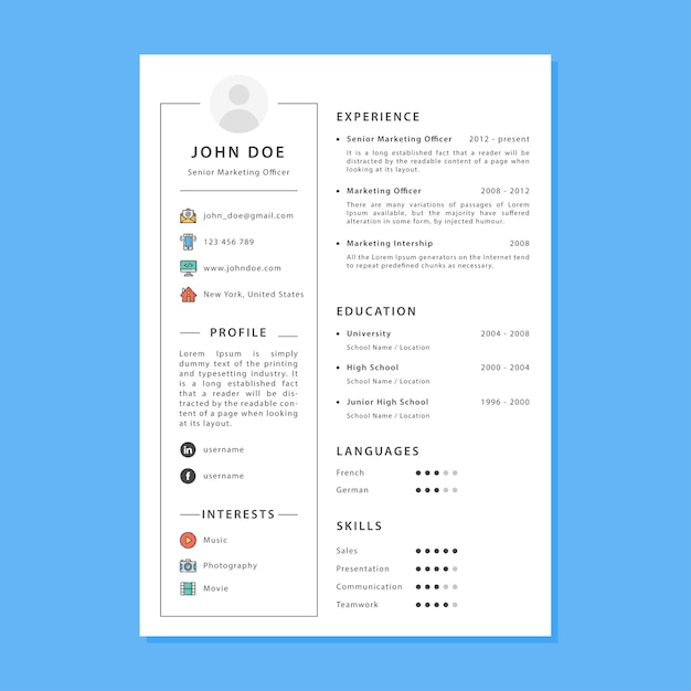 Simple Cv Template Vector  Premium Download