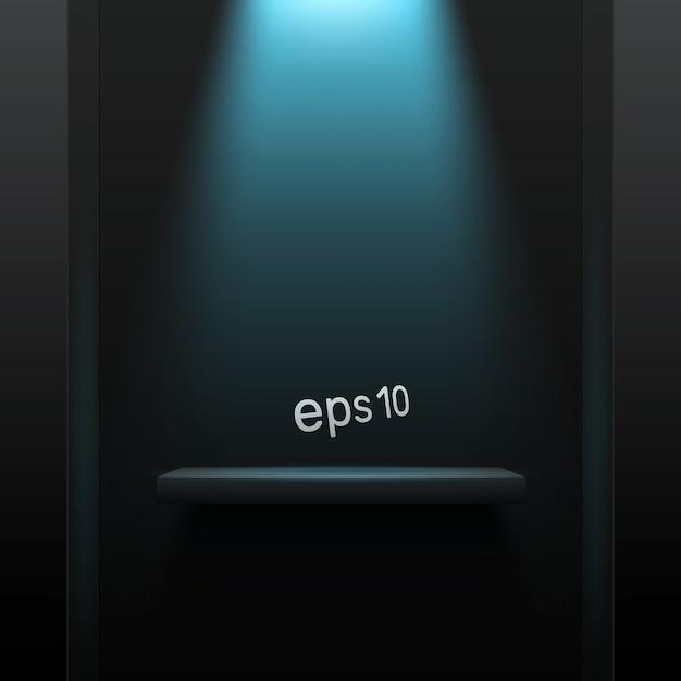 青いバックライト付きのシンプルな暗い背景。製品の空き容量。 Premiumベクター