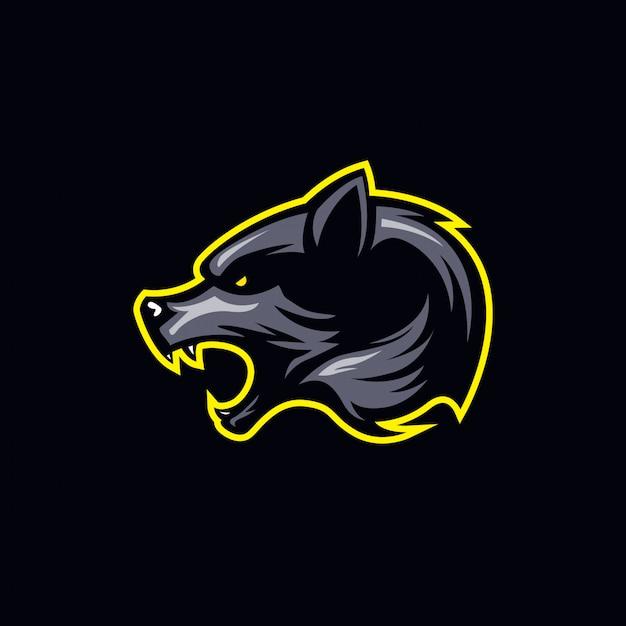 Simple dark toned wolf head logo Premium Vector